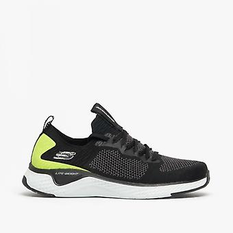 Skechers Solar Fuse Mens Trainers Black/lime
