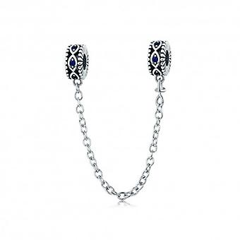 Sterling Silver Safety Chain Blue Eyes - 5608