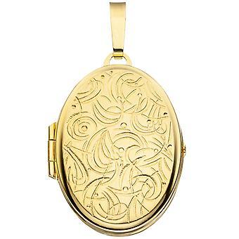 ميدالية المرأة البيضاوي ل2 صور 333 الذهب الذهبي الذهب الأصفر قلادة ماتي لفتح