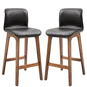HOMCOM 2 Pcs 93cm Faux Leather Bar Stools Tall Wooden Frame w/ Footrest Padding Foot Pads Modern Comfortable Seats Relaxed Home Business Countertop Brown
