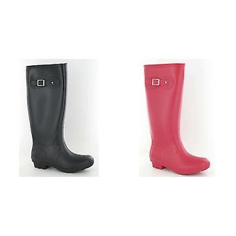 Flekk på kvinners/damer spenne detalj vanlig gummistøvler