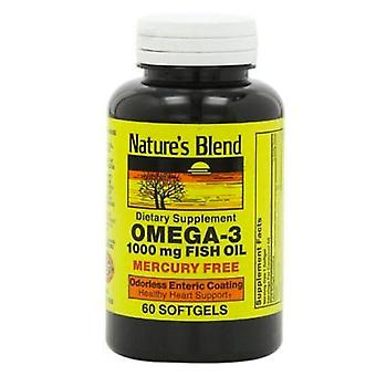 Nature's blend omega-3 fish oil, 1000 mg, mercury free, softgels, 60 ea