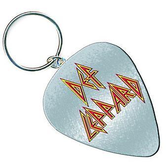 Def Leppard Keyring Keychain guitar Pick bande Logo hystérie nouveau officiel en métal