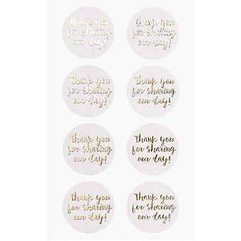 Thank you for sharing our day wedding sticker craft White and Gold x 32