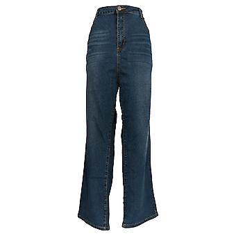 K Jordan Women's Plus Jeans High-Waist Bootcut Medium Wash Blue