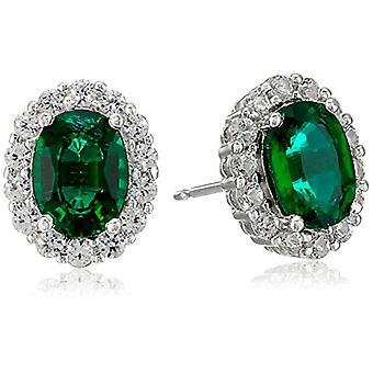 Rhodium Plated Sterling Silver Created Emerald 8x6mm and, Green, Size No Size