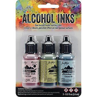 Tim Holtz alcol inchiostro .5oz 3/Pkg-campagna-Shell Pnk/salice/nuvoloso blu