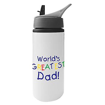 Worlds Greatest Dad Aluminium Water Bottle With Straw