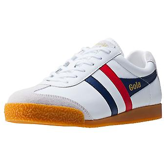 Gola Harrier Mens Classic Trainers in White Navy Red
