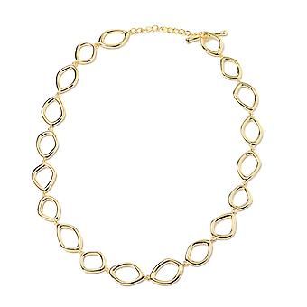 Yellow Gold Plated Sterling Silver Fluid Design Collar Necklace for Women Sz 20""