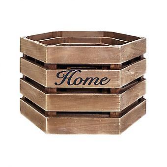 Rebecca Furniture Set 3 Caixas Hexagonais Wood Brown Country 25x40x35
