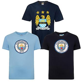 Manchester City FC Official Football Gift Kids Crest T-Shirt