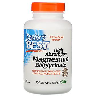 Doctor's Best, High Absorption Magnesium Bisglycinate, 100 mg , 240 Tablets