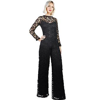 Women's Crew Neck Long sleeved Lace Open Back Maxi Jumpsuit