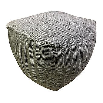 Spura Home Hand Knit Herringbone Ottoman Foot Rest Pouf Home Decor