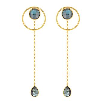 ADEN Gold Plated 925 Sterling Silver Faceted Labradorite Earrings (id 4583)