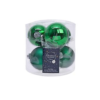 6 8cm Holly Green Glass Christmas Tree Bauble Decorations