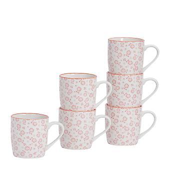 Nicola Frühling 6 Stück Daisy gemusterten Tee und Kaffeebecher Set - kleine Porzellan Cappuccino Tassen - Koralle - 280ml