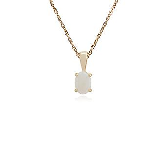 Classic Oval Opal Single Stone Pendant Necklace in 9ct Yellow Gold 10732