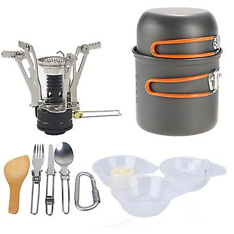 Outdoor Camping Cookware Set Aluminum Cooking Set Water Kettle Pan Pot Travelling Hiking Picnic BBQ Tableware Camping Equipment