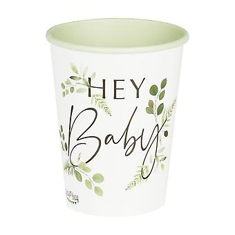 Botanical Hey Baby Shower Paper Party Cups x 8