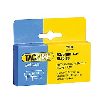 Tacwise 53 Light-Duty Staples 6mm (Type JT21, A) Pack 2000 TAC0334