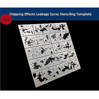 אלכסן Chipping אפקטים דליפת ספריי סטנסיל תבנית הזדקנות עוזר כלים