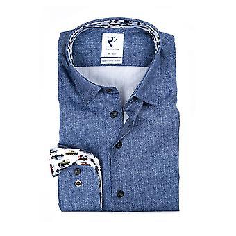 R2 Hidden Button Down Blue Herringbone Shirt Blue