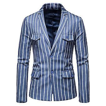 YANGFAN Men's Pinstripe Suit Jacket Elegant Single Breasted Blazer