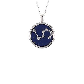 Zodiac Lapis Blue Gemstone Star Pendant Necklace Silver Leo