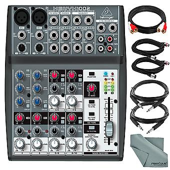Behringer xenyx 1002 - 10 channel audio mixer and accessory bundle w/ 5x cables + fibertique cloth