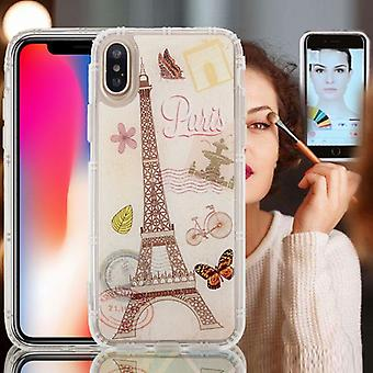 Pour iPhone X Anti-Gravity Nano-aspiration Technology Dropproof Eiffel Tower Pattern TPU Protective Back Cover Case