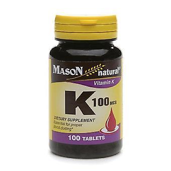 Mason natural vitamin k, 100 mcg, tablets, 100 ea