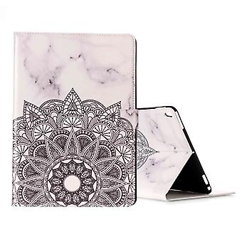 For iPad Pro 10.5 inch (2017) Half Flower White Marble Pattern Horizontal Flip Leather Protective Case with Holder & Card Slots & Wallet