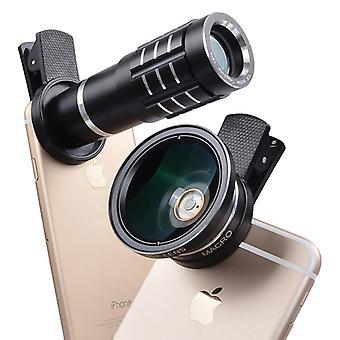 عدسة 12X تليفوتوغرافي 12X عدسة 0.45X واسعة الزاوية + 12.5X عدسة الماكرو كيت، لفون، غالاكسي، هواوي، Xiaomi، LG، HTC وغيرها من الهواتف الذكية (أسود