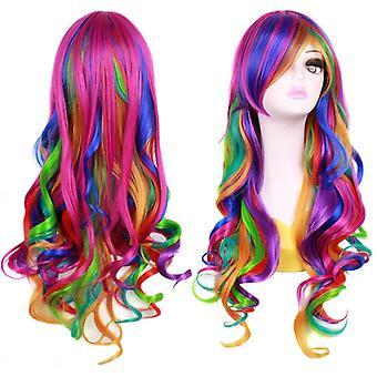 Ateid mujeres peluca pelo largo arco iris rizado ondulado + gorra peluca
