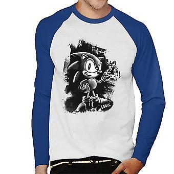 Sonic The Hedgehog Black Painted Design Men's Baseball Long Sleeved T-Shirt