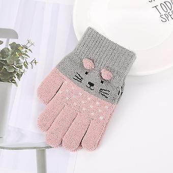 Children Mittens, Winter Cute Cartoon Animal Warm Knitted Gloves