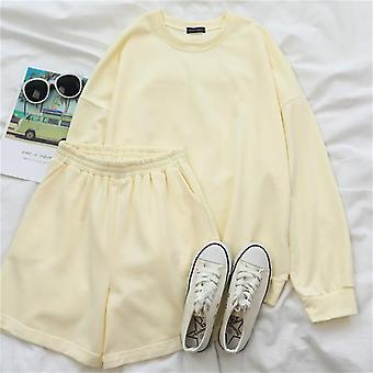 Womens Tracksuits Summmer Autumn Oversize Sweatshirt Shorts Sweat Set Two Piece