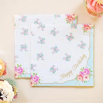 Happy Birthday Napkin - Floral Print Alice in Wonderland Style Napkin x 20 Party