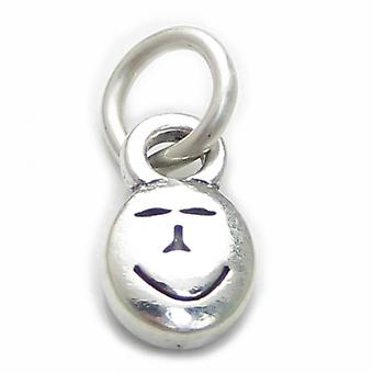 Smiling Happy Face Sterling Silver Charm .925 X 1 Tiny Smile Charms - 3934