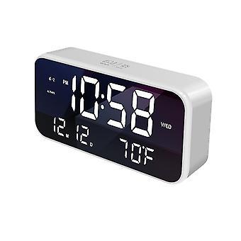 Usb led music alarm clock mirrow effetto controllo della luminosità del suono snooze funzione tempo termometro temperatura led display orologio desktop