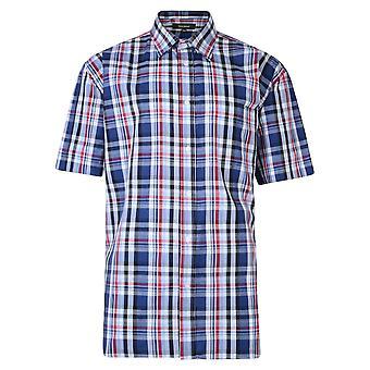 Metaphor Navy & Red Check Short Sleeve Shirt