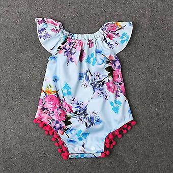 Baby Girl Flower Prints Tassels Off Shoulder Onesies Clothes
