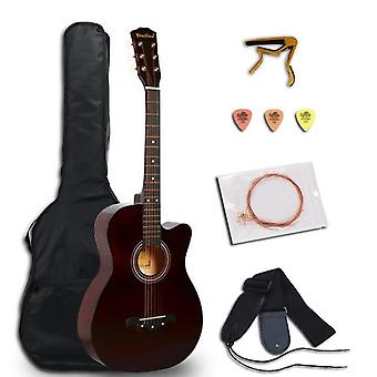 Acoustic Guitar Folk Guitar For Beginners 6 Strings Basswood With Sets Black