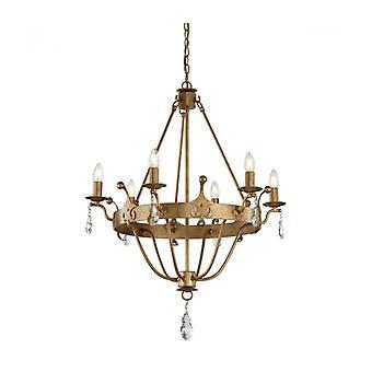 Lámpara Colgante Windsor, Acabado Pátina Dorada, Cristal, 6 Luces