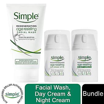 Simple Regeneration Age Resisting Night Cream, Day Cream, and Facial Wash