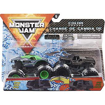 Monster Jam Official Alien Invasion vs. Soldier Fortune Black Ops Colour-Changing Die-Cast Monster Trucks, 1:64 Scale