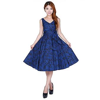 Chic Star Plus Size Retro Wrap Sleeveless Dress In Blue