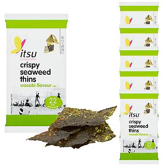 6 x 5g Algues Thins Spicy Wasabi Crisp Chips Natural Snack Nibble Savoury Treat